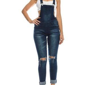 Denim - 2/$12 distressed Jean overalls